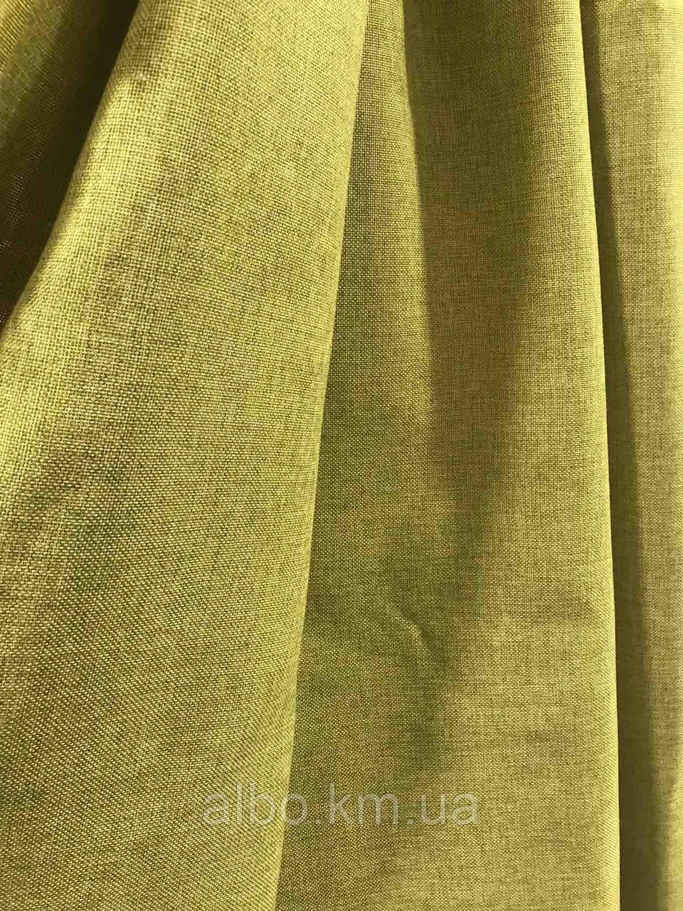 Лляная легкая ткань в оливковом цвете на метраж (М1-15)