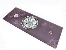 Килимок для йоги Замшевий 183 х 68 х 0,3 см з мандалою коричнево-фіолетовий