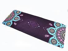 Килимок для йоги Замшевий 183 х 68 х 0,3 см з мандалою фіолетовий