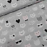 Тканина з кошенятами і сердечками на сірому фоні, ш.160 см, фото 1