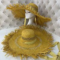 Крислатий солом'яний капелюх посатаная з бахромою, фото 1