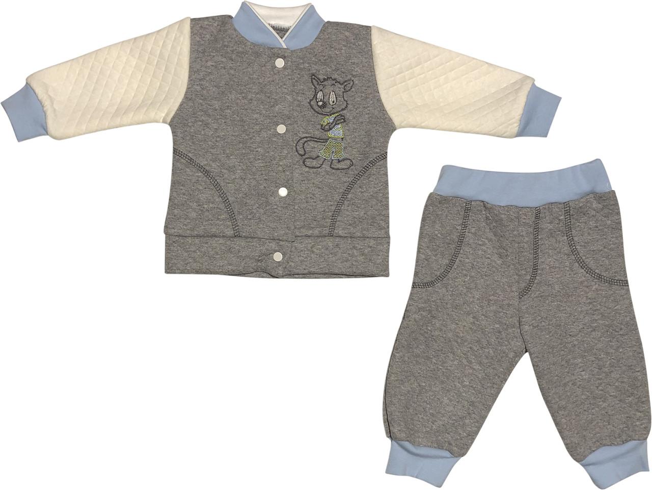 Костюм на хлопчика ріст 62 2-3 міс для новонароджених малюків комплект дитячий трикотаж капітон бавовна сірий