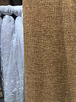Лляная легкая ткань в кирпичном цвете на метраж (М1-17), фото 2