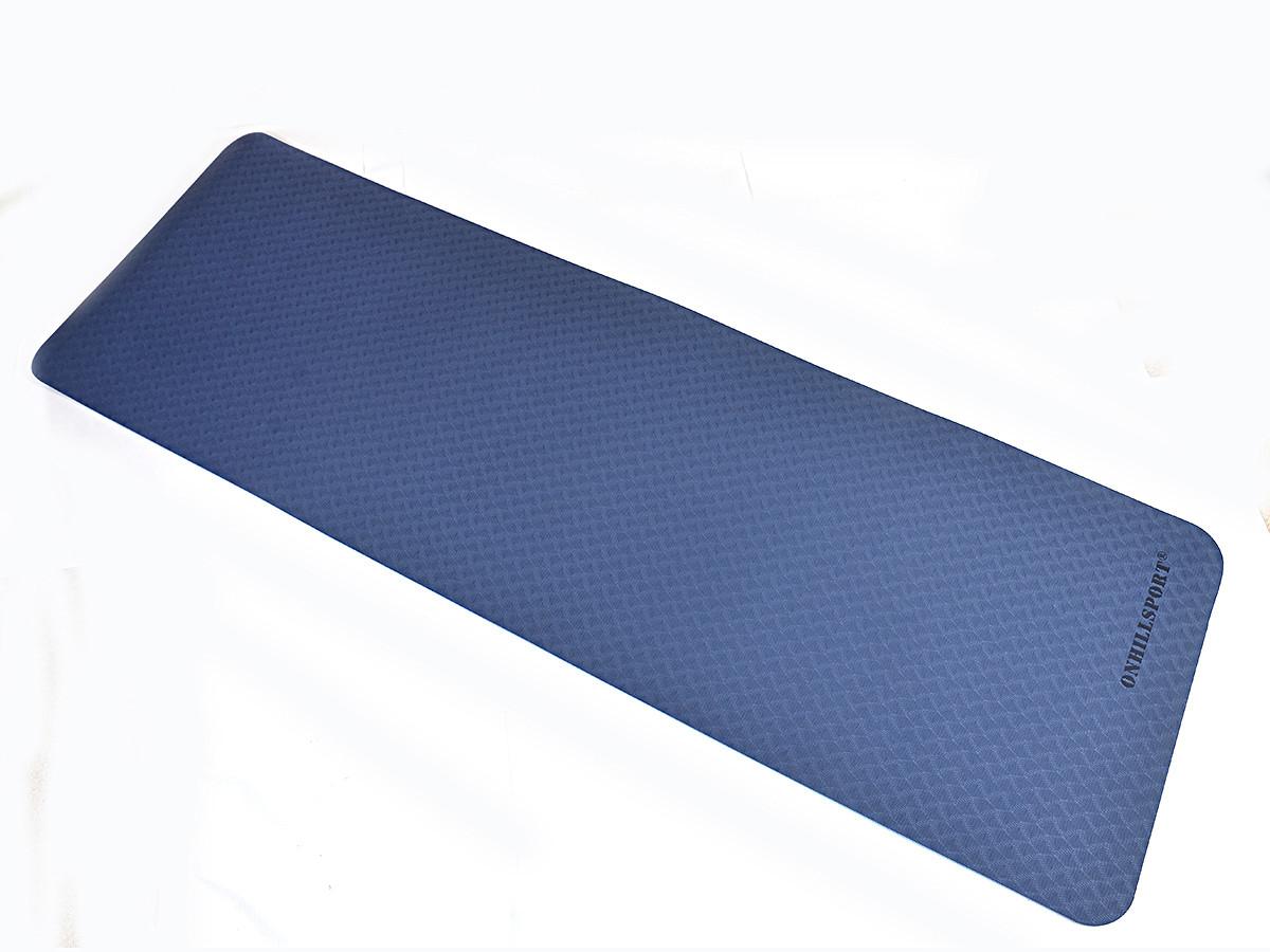 Килимок для йоги TPE 183 х 61 х 0,6 см 2-х шаровий синьо-блакитний