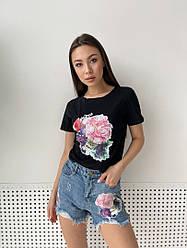 Костюм шорты джинсовые с футболкой стильный 3303