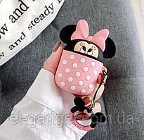 Чехол футляр для наушников AirPods Микки Маус розовый