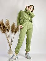 Спортивные женские штаны-джогеры зеленые с высокой посадкой размер L JOGx8, фото 1