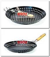 Сковорода-жаровня антипригарная 30см для барбекю со складывающейся ручкой и отверстиями Stenson MH-2057, фото 1