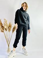 Спортивные женские штаны-джогеры черные с высокой посадкой размер S JOGx1