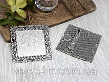 Основа для броши - кулона Сеттинг квадратная 35х35 мм Серебро античное кабошон 25х25 мм