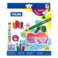 "0722612 Набор цвет.каранд.треуг. ""MAXI"" ТМ ""MILAN"" 12шт. с точилкой, D5mm"