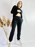 Спортивные женские штаны-джогеры черные с высокой посадкой размер L JOGx1