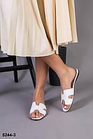 Шльопанці жіночі шкіряні білі на плоскій підошві, 38 розмір, фото 1