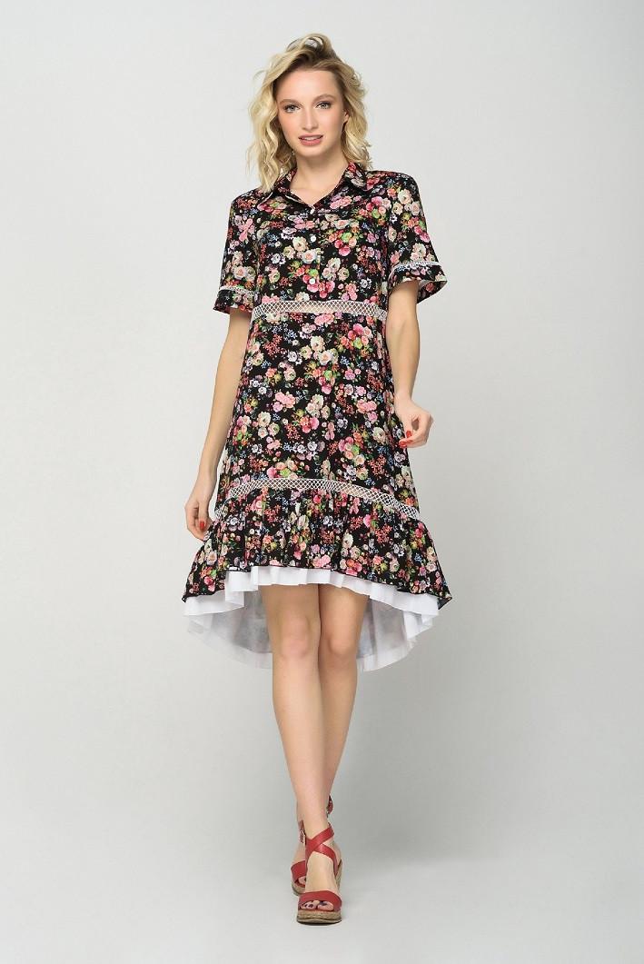 Женское Летнее Платье С Двухслойной Юбкой Цветочное