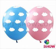 """Гелиевый шар 12"""" (30 см) """"Облачка"""" розовый"""