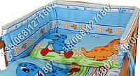 Бортики в детскую кроватку защита бампер Динозавр голубой