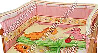 Защита бортик в детскую кроватку для новорожденных (дино розовый)