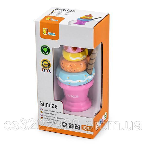 Іграшкові продукти Viga Toys Дерев'яна пірамідка-морозиво, рожевий (51321)