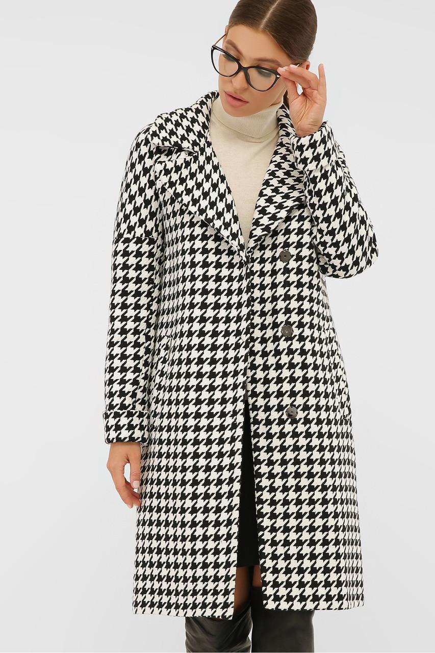 GLEM Пальто жіноче демісезонне в клітку П-399-100