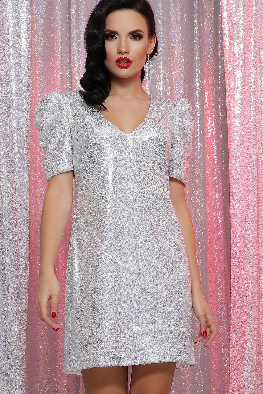 Нарядное  платье в пайетки  серое  Элозия к/р