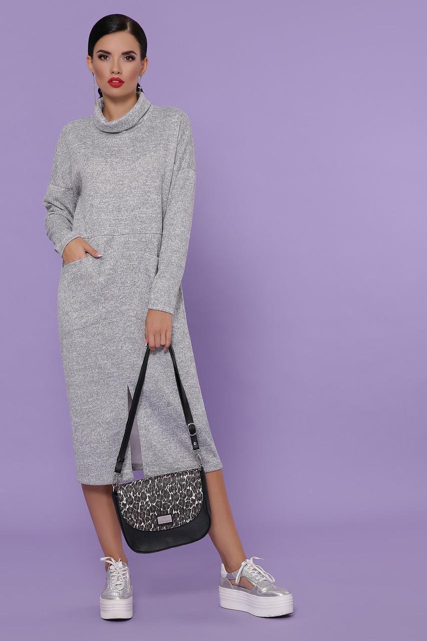 Теплое ангоровое  платье серое  Дакота д/р