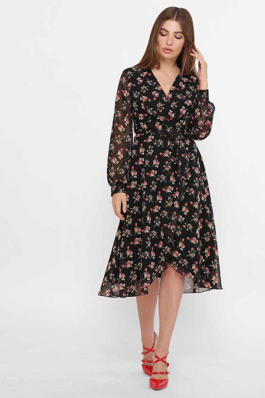 Шифоновое платье на запах в цветочный принт Алеста д/р