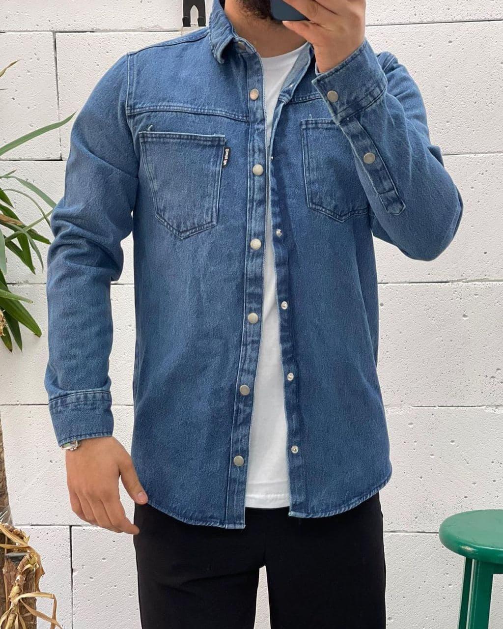 Мужская джинсовая рубашка на пуговицах синяя | Стильная джинсовка куртка джинсовая производство Турция