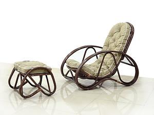 CRUZO Крісло з пуфом CRUZO Set натуральний ротанг, горіховий, kr0007