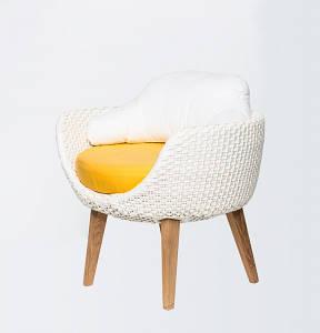 Обідній крісло CRUZO Ай плетіння штучний ротанг білий