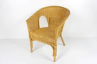 Плетенное кресло CRUZO Келек натуральный ротанг коньяк kl0010