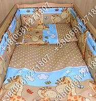 Защита бортик в детскую кроватку для новорожденных (жираф коричневый)