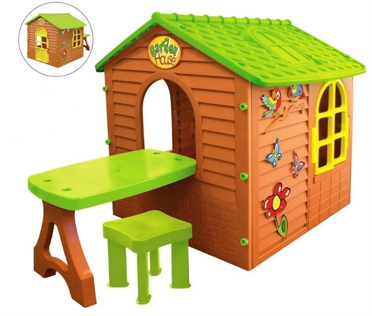Дитячий будиночок Mochtoys зі столиком і табуреткою (ігровий будиночок для вулиці і вдома)
