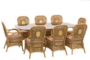 CRUZO Обідній комплект Ацтека CRUZO (стіл + 8 стільців) світло-коричневий  ok0029 Стіл + 2 крісла і 6 стільців