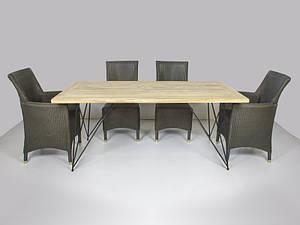 CRUZO Обідній комплект Париж CRUZO (стіл 240х100 см і 6-8 крісел) тік лум метал kt211020202 Стіл 240x100 см +