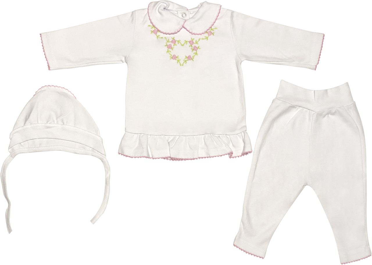 Костюм на виписку дівчинку зростання 56 0-2 міс для новонароджених малюків комплект ошатний трикотажний бавовна білий