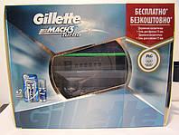 Набор для бритья мужской Gillette Mach 3 Turbo (Станок Жиллете+2 кассеты+Гель для бритья), фото 1