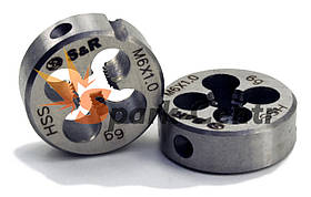 Плашка S&R М6х1,0 з метричною різьбою 6g HSS P6M5 для машинно-ручної роботи (Німеччина)