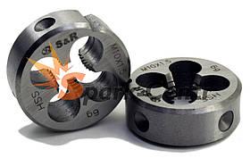 Плашка S&R М8х1,25 з метричною різьбою 6g HSS P6M5 для машинно-ручної роботи (Німеччина)