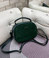 Женская сумка кроссбоди стильная маленькая сумочка зеленая натуральная замша+кожзам, фото 1