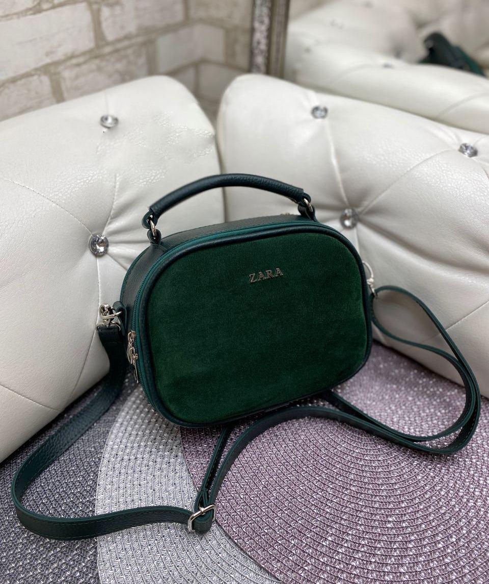 Женская сумка кроссбоди стильная маленькая сумочка зеленая натуральная замша+кожзам
