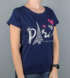 -Р - Футболка жіноча вільного крою Paris Темно-синій (2129жс), XL