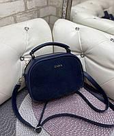Женская сумка кроссбоди стильная маленькая сумочка синяя натуральная замша+кожзам, фото 1