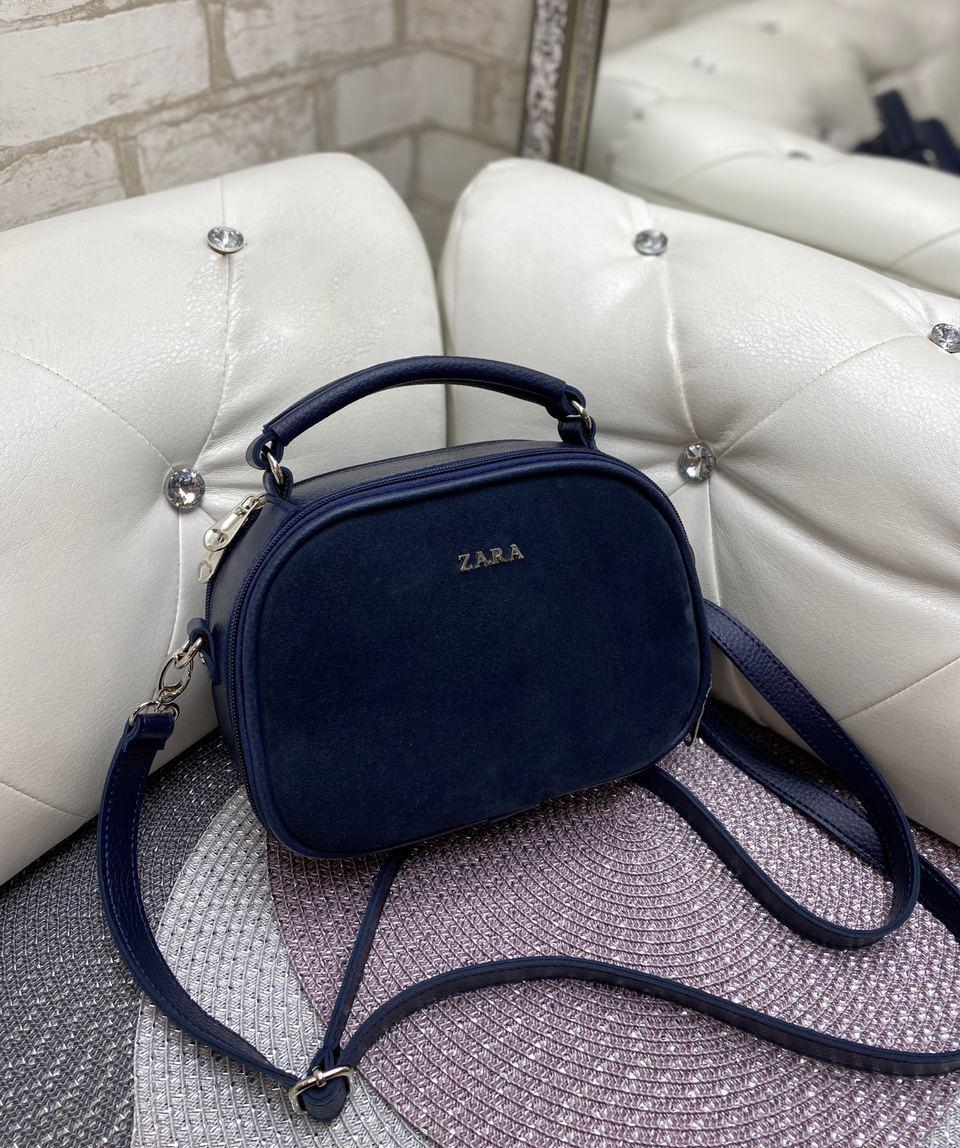 Женская сумка кроссбоди стильная маленькая сумочка синяя натуральная замша+кожзам