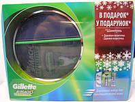 Набор для бритья мужской Gillette Mach 3 Sensitive (3 предмета станок Мак 3+гель для бритья 75 мл.+шампунь), фото 1