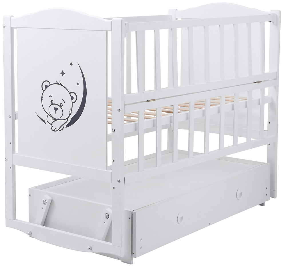 Ліжко Babyroom Тедді Т-03 фігурне бильце, маятник, ящик, відкидний бік, білий 624693