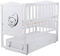 Ліжко Babyroom Тедді Т-03 фігурне бильце, маятник, ящик, відкидний бік, білий 624693, фото 1