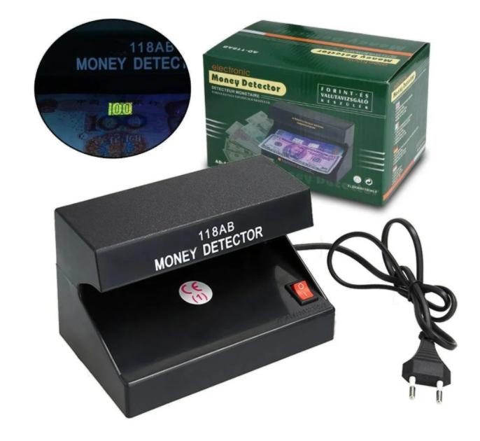 Компактный ультрафиолетовый прибор Детектор купюр AD-118AB для проверки валют Черный