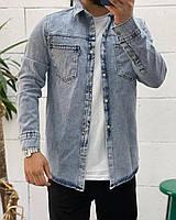 Мужская джинсовая рубашка на пуговицах голубая   Стильная джинсовка куртка джинсовая производство Турция
