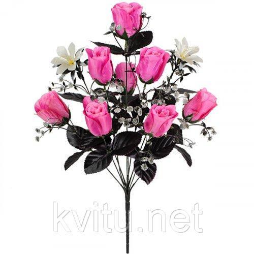 Букет троянди атласні з темними листям, 55см