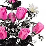Букет троянди атласні з темними листям, 55см, фото 2